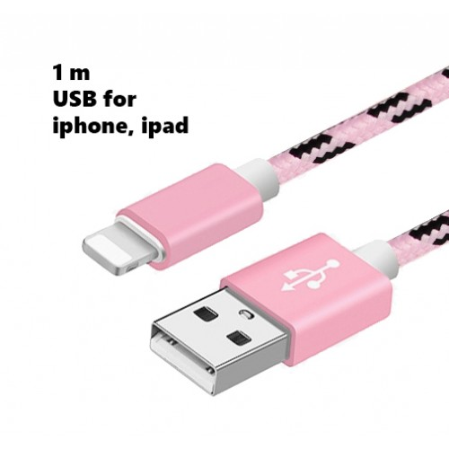 Lightning USB cable iPhone, 100 cm, pink