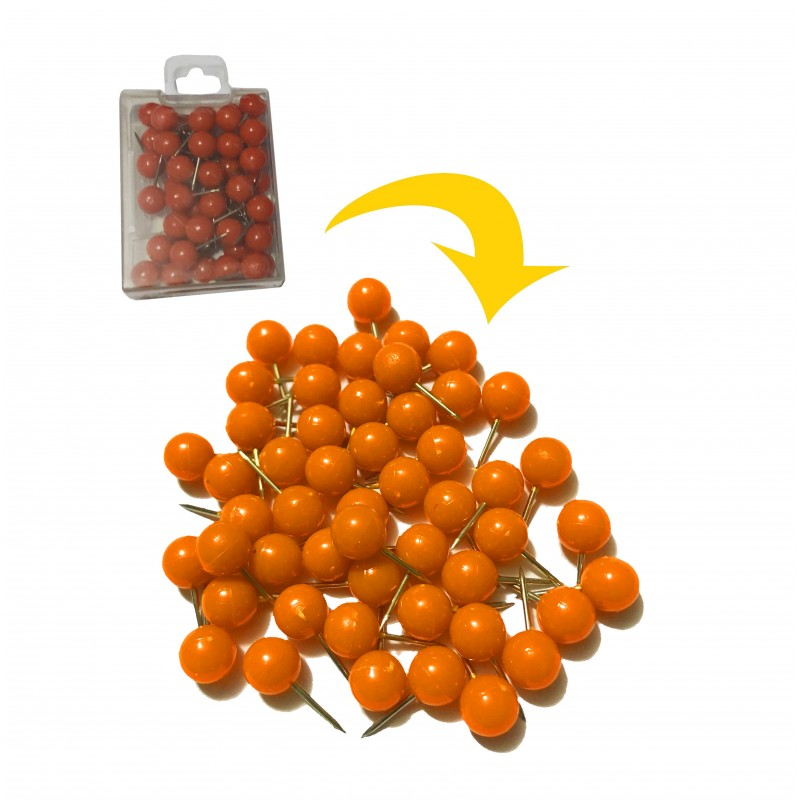 Punaises met bolle kop in doosje, oranje, 50 stuks