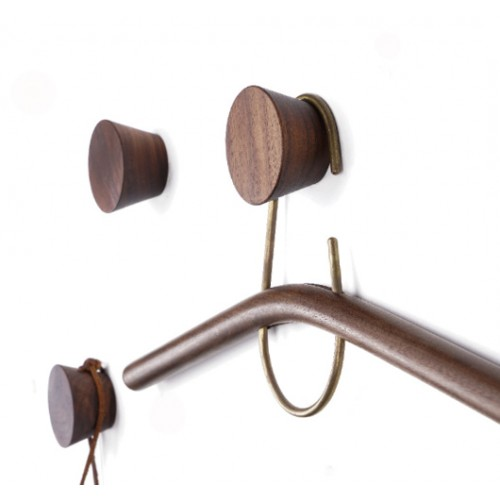4 wooden clothes hooks, walnut (type 2)