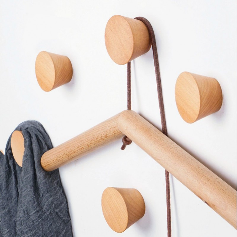 4 wooden clothes hooks, beech (type 1)