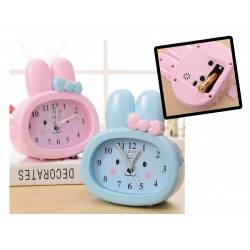 Pink bunny kids clock for girls, with alarm