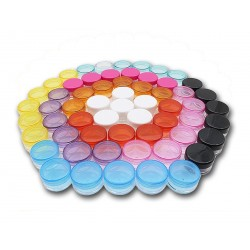 20 plastic jars with colored screw caps, 3 ml