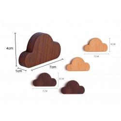 2 notenhouten sleutelhouders (wolkjes, magnetisch)