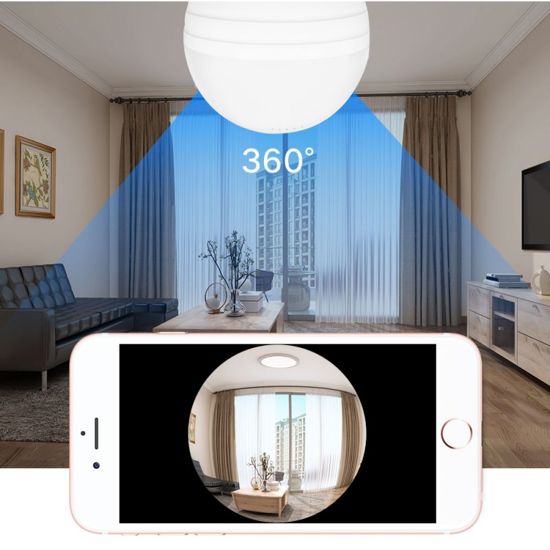 HD camera in lamp, e27 voor Android, IOS
