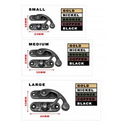 10 x metalen kistslot (sluiting): maat 2, kleur: black