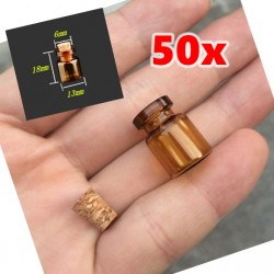 Set mini glazen flesjes, 50 stuks, 13*18*6 mm