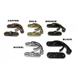 30 x metalen kistslot (sluiting): maat 3, kleur: bronze