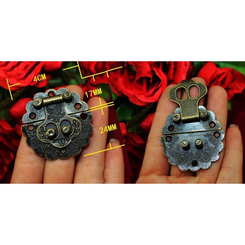 5 pcs antique bronze box locks with screws