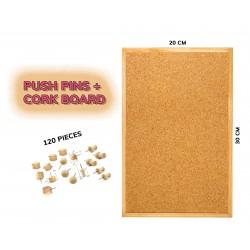 Budget houten prikbord (20x30 cm) plus 120 punaises