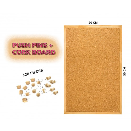 Budget wooden cork board (20x30 cm) plus 120 push pins