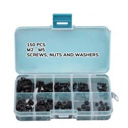 150 kunststof schroeven, moeren en ringen (zwart)