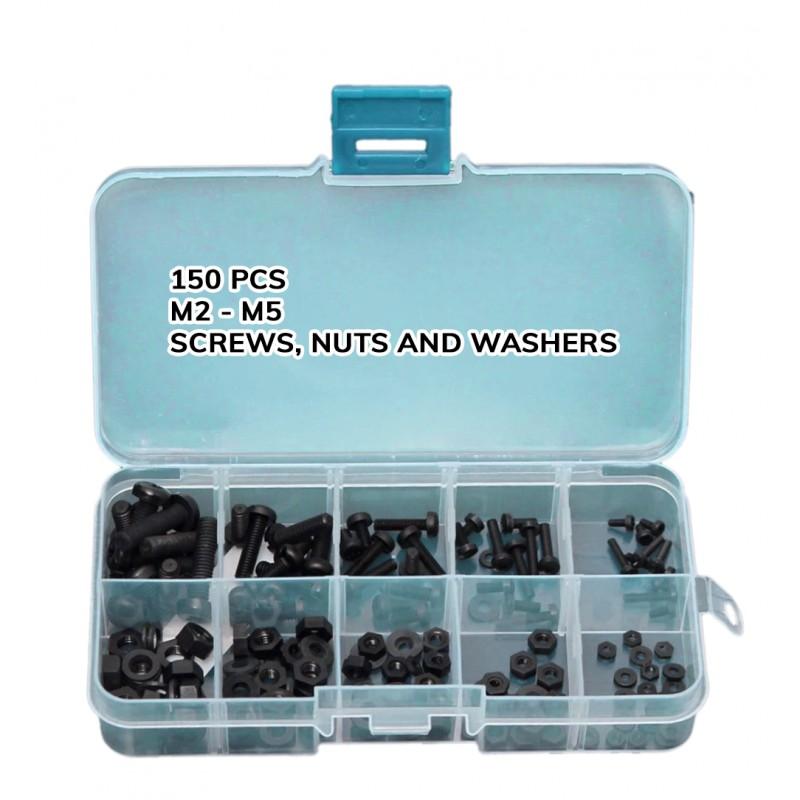 150 kunststof schroeven, moeren en ringen (zwart) in doosje