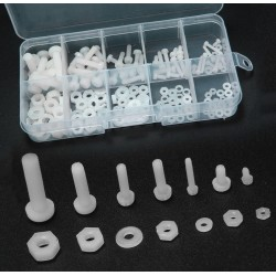 150 nylon screws, nuts and washers (white) in box
