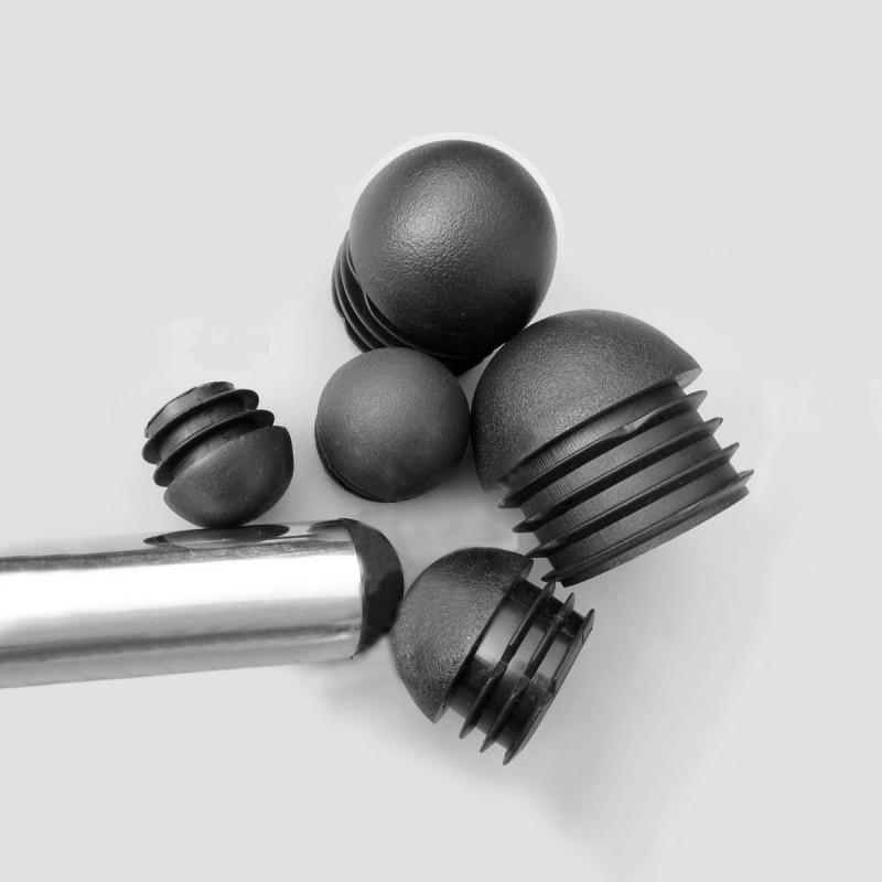 8 x black chair leg cap (plug-in, round), dia 16 mm