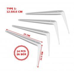 Set van 24 metalen plankdragers, wit 12.5x15 cm