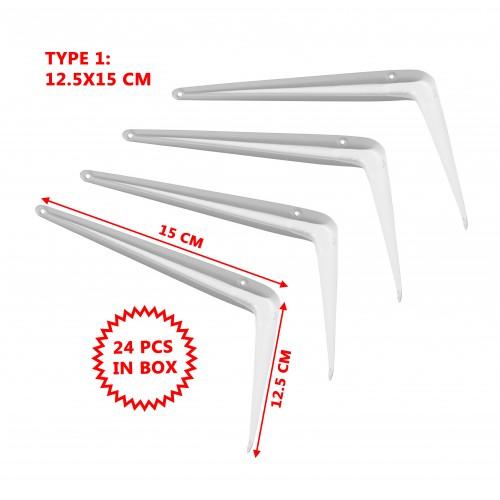 Set van 24 eenvoudige metalen plankdragers, wit 12.5x15 cm