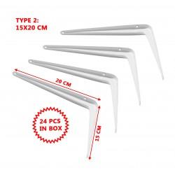 Set of 24 metal shelf supports, white 15x20 cm