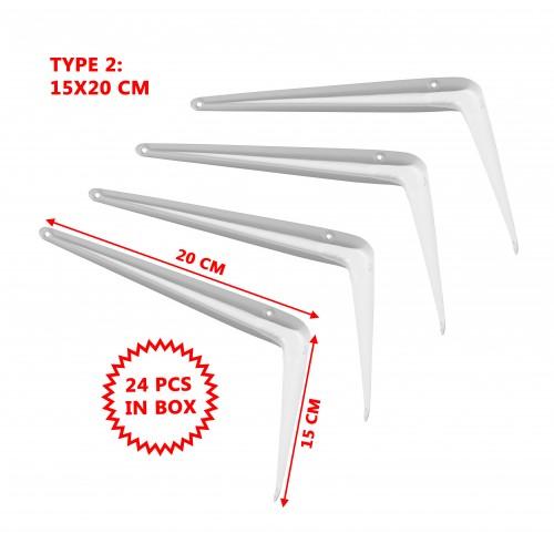 Set mit 24 einfachen Metallregalen, weiß 15x20 cm