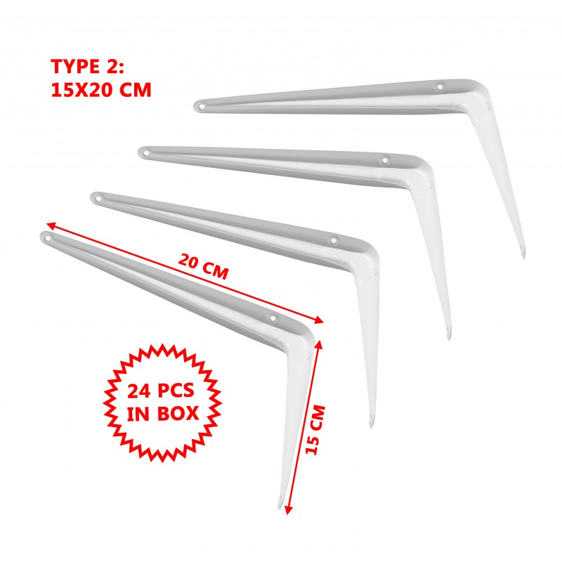 Set of 24 metal shelf supports, white 15x20 cm