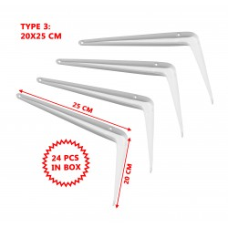 Set of 24 metal shelf supports, white 20x25 cm
