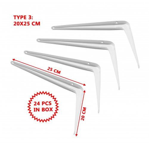 Set van 24 metalen plankdragers, wit 20x25 cm