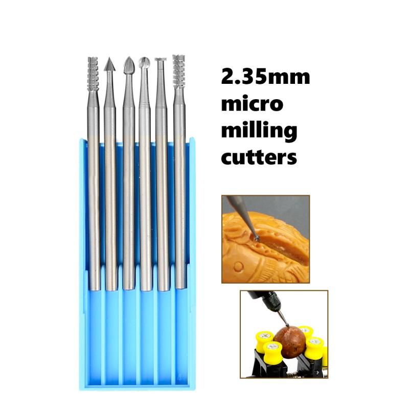 6 HSS mini milling cutters, 0.9x40mm, 2.35 shaft