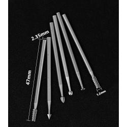 6 HSS mini milling cutters, 1.2x40mm, 2.35 shaft