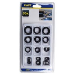Assortiment van 50 rubberen ringetjes in een doosje