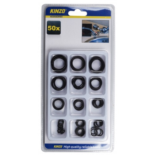 Assortment of 50 rubber rings in a box