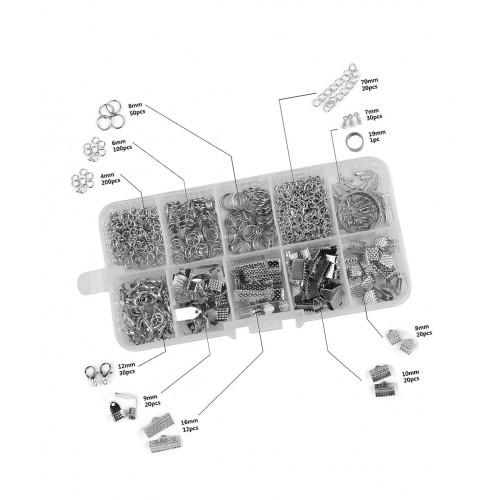 Box mit Ringen und Klammern für Schmuck: Silber