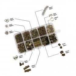 Doosje met ringetjes en klemmen voor sieraden: brons