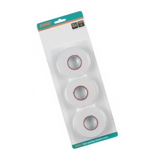 3 rollen dubbelzijdig plakband (2mx18mm), wit