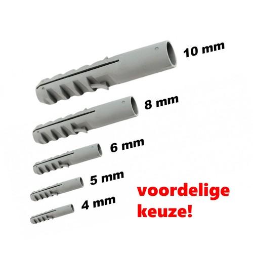 Set van 150 goedkope nylon wandpluggen, 8 mm