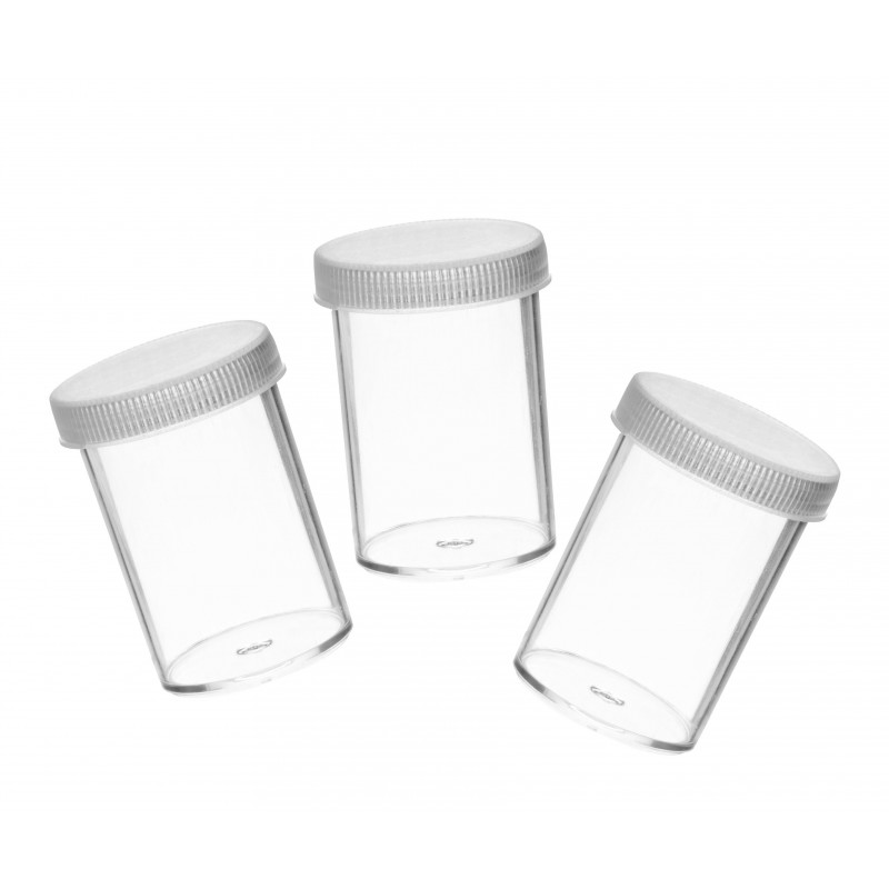 Set of 30 sample containers, 20ml with screw caps
