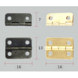 Set of 20 pieces small brass hinges (16x13mm)