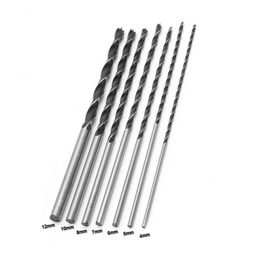 Set of 7 wood drills (4-12mm) extreme length (300mm!)