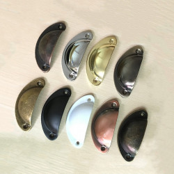 Set of 8 shell shaped handles, for furniture: brushed copper