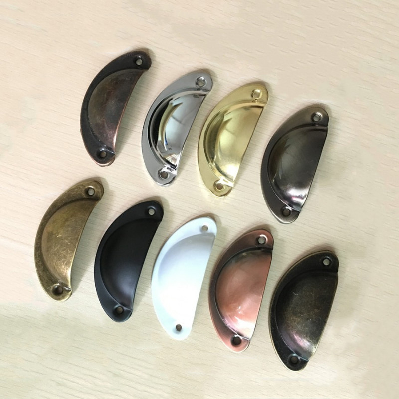 Set of 4 shell shaped handles, for furniture: brushed copper