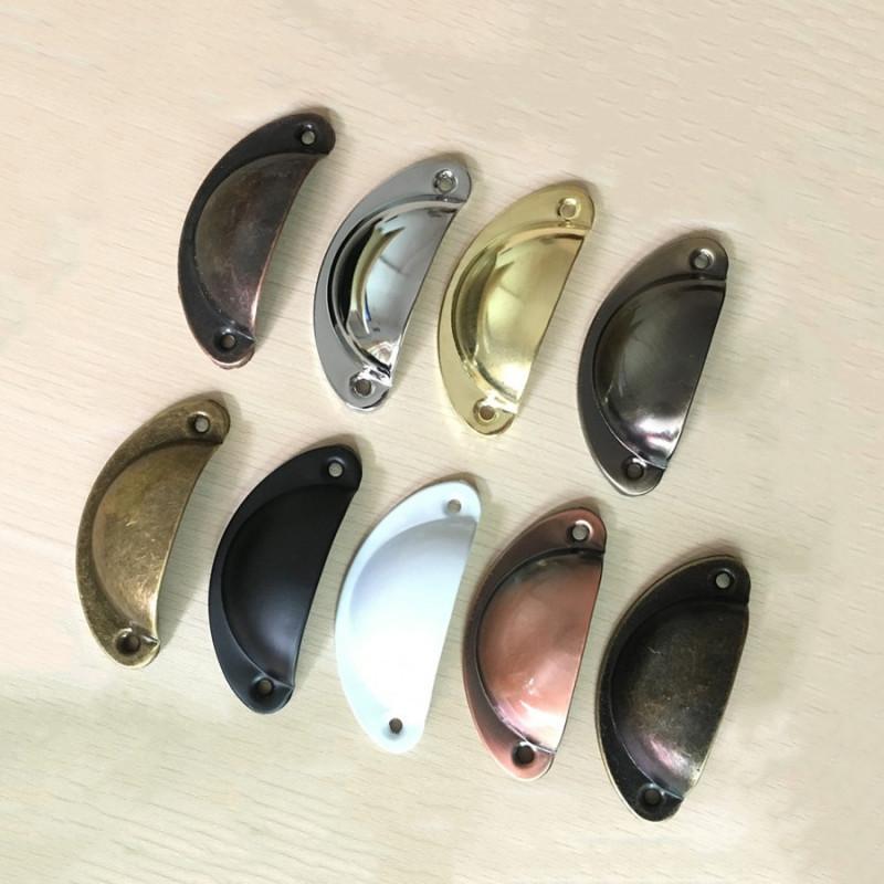Set van 4 handgrepen schelp, voor meubels: koper geborsteld