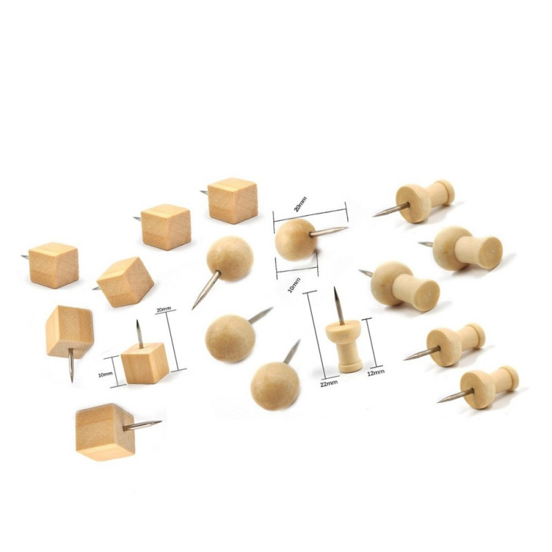 Wooden push pins in bag (3 types, 180 pieces)