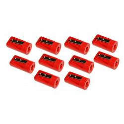 10 x puntenslijper voor timmermanspotlood rood