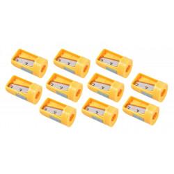 10 x puntenslijper voor timmermanspotlood geel