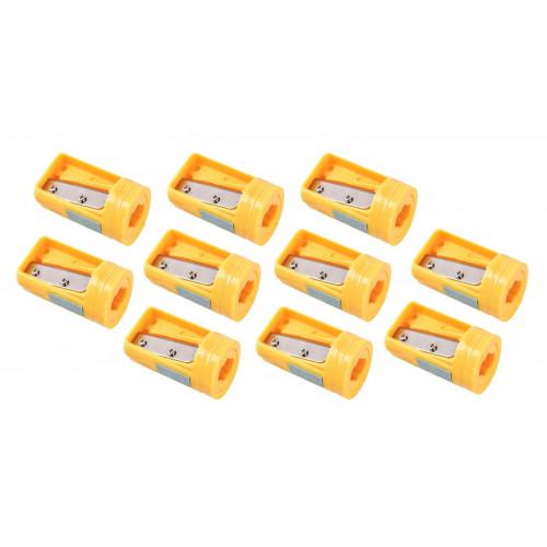Puntenslijper voor timmermanspotlood geel