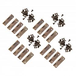 Set van 16 kleine bronskleurige scharniertjes, 30x17 mm