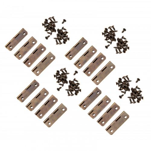 Set van 4 kleine bronskleurige scharniertjes, 30x17 mm