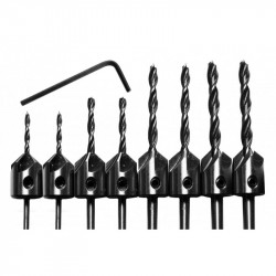 Set of 8 wood drill bits with countersunk part (3-6 mm)