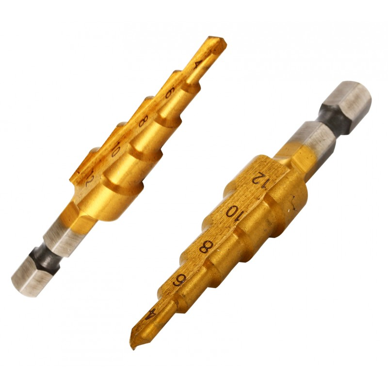 Step drill bit 4-12 mm hex shank