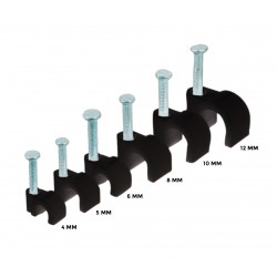 Cable clips black 10 mm