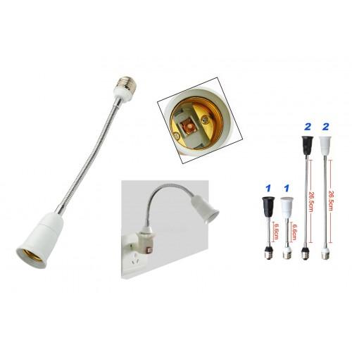 Lighting socket extension, 19cm, black, e27