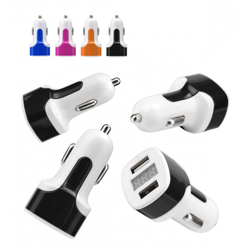 USB dual port car charger with display, orange